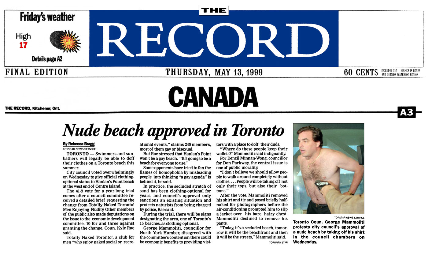 Kitchener Record 1999-05-13 p.A3 - Toronto Council creates Hanlan's Point CO-zone